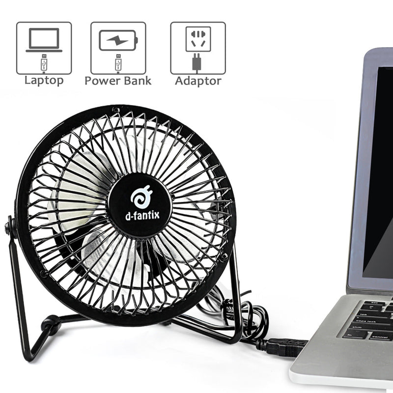 D-FantiX Mini 4 Antique Metal USB Desk Fan (Black)