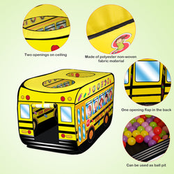 D-FantiX School Bus Tent Kids Play Tent Pop Up Pretend Playhouse Vehicle Toy