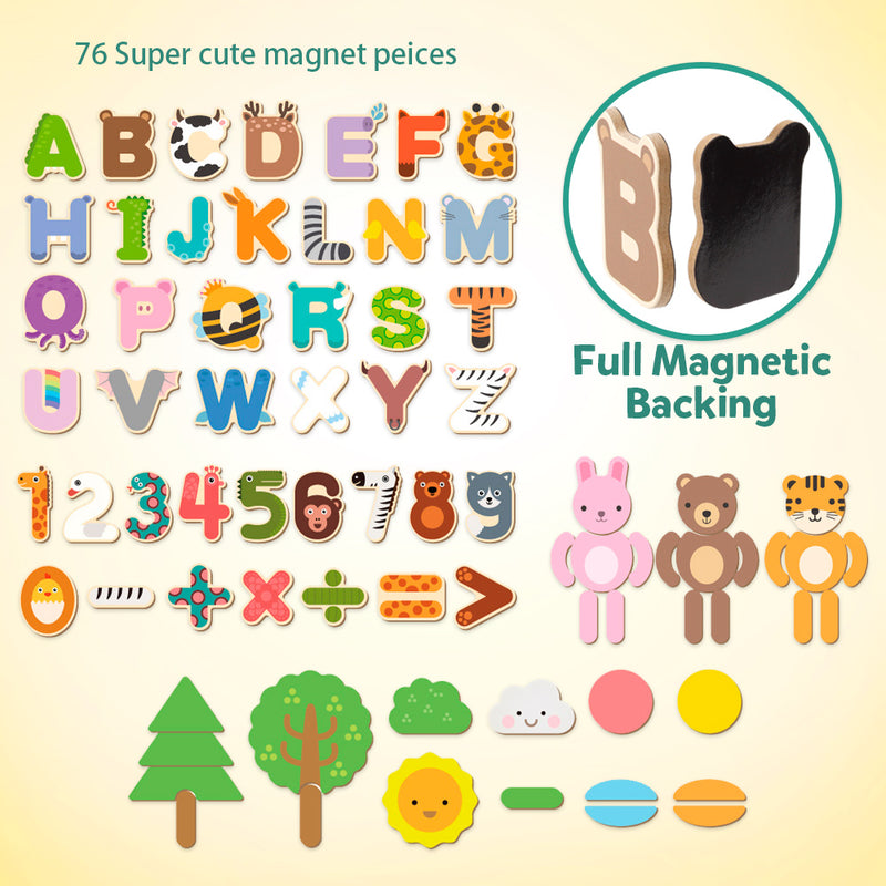 D-FantiX Wooden Magnetic Letters Numbers Animals with Easel Board Alphabet 123 ABC Set Jigsaw Puzzle