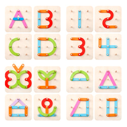 D-FantiX Wooden Letter Number Sorter Puzzle Educational Stacking Blocks Toy