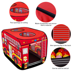 D-FantiX Fire Truck Tent Kids Play Tent Pop Up Pretend Playhouse Vehicle Toy