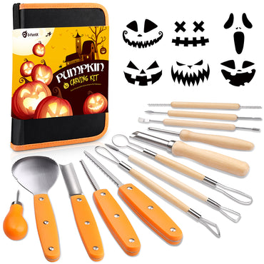 D-FantiX Halloween 13 Pieces Stainless Steel Pumpkin Carving Tools Kit