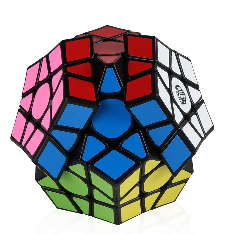 D-Fantix Qiyi X-Man Galaxy V2 Megaminx Cube Sculpted Black Pentagonal Dodecahedron Speed Cube Enhanced Version Puzzle Toy (Sculpted Version)