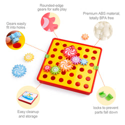D-FantiX Spinning Gear Puzzle Board Set with 12 Pictures Peg Puzzles Cog Gear Toys