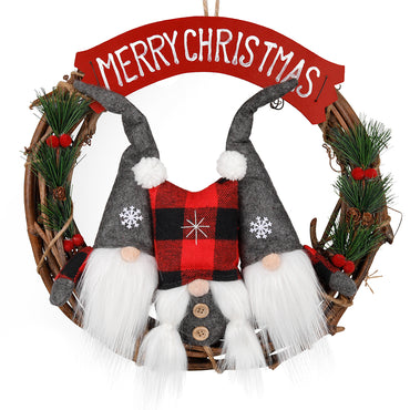 D-FantiX 4 Inch Swedish Gnome Christmas Wreath for Front Door
