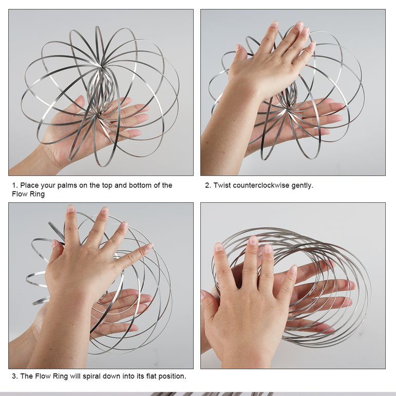 Flow Rings Kinetic Spring Bracelet Spinning Arm Slinky Magic Ring Perfect Life Ideas Spinner Ring Arm Slinkey Toy Science Educational Sensory Interactive Cool Toys for Kids Boys Girls Adults