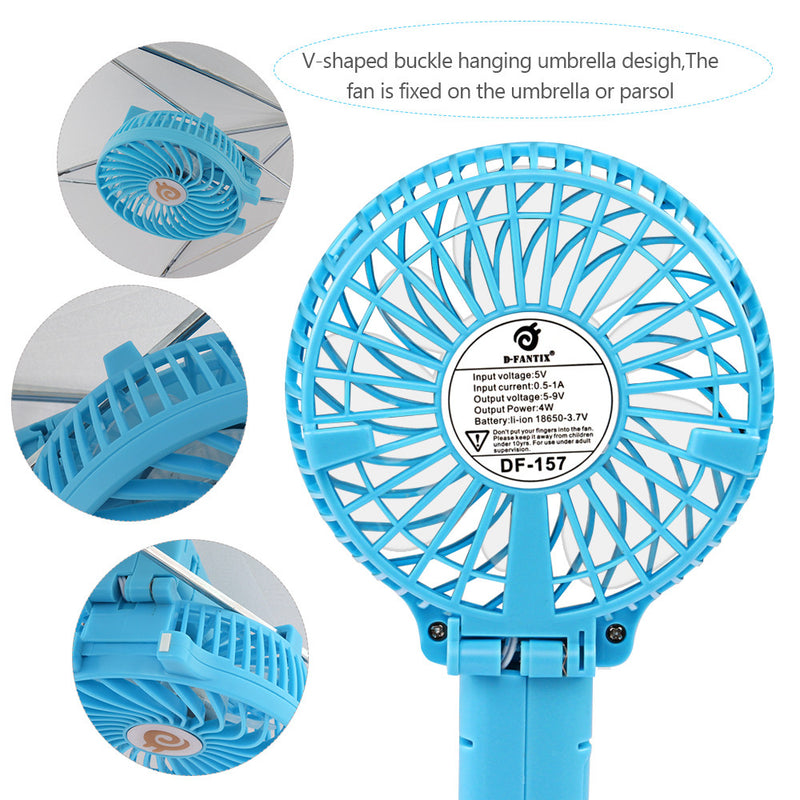 D-FantiX Portable Mini USB Rechargeable Personal Handheld Fan Foldable (Blue)