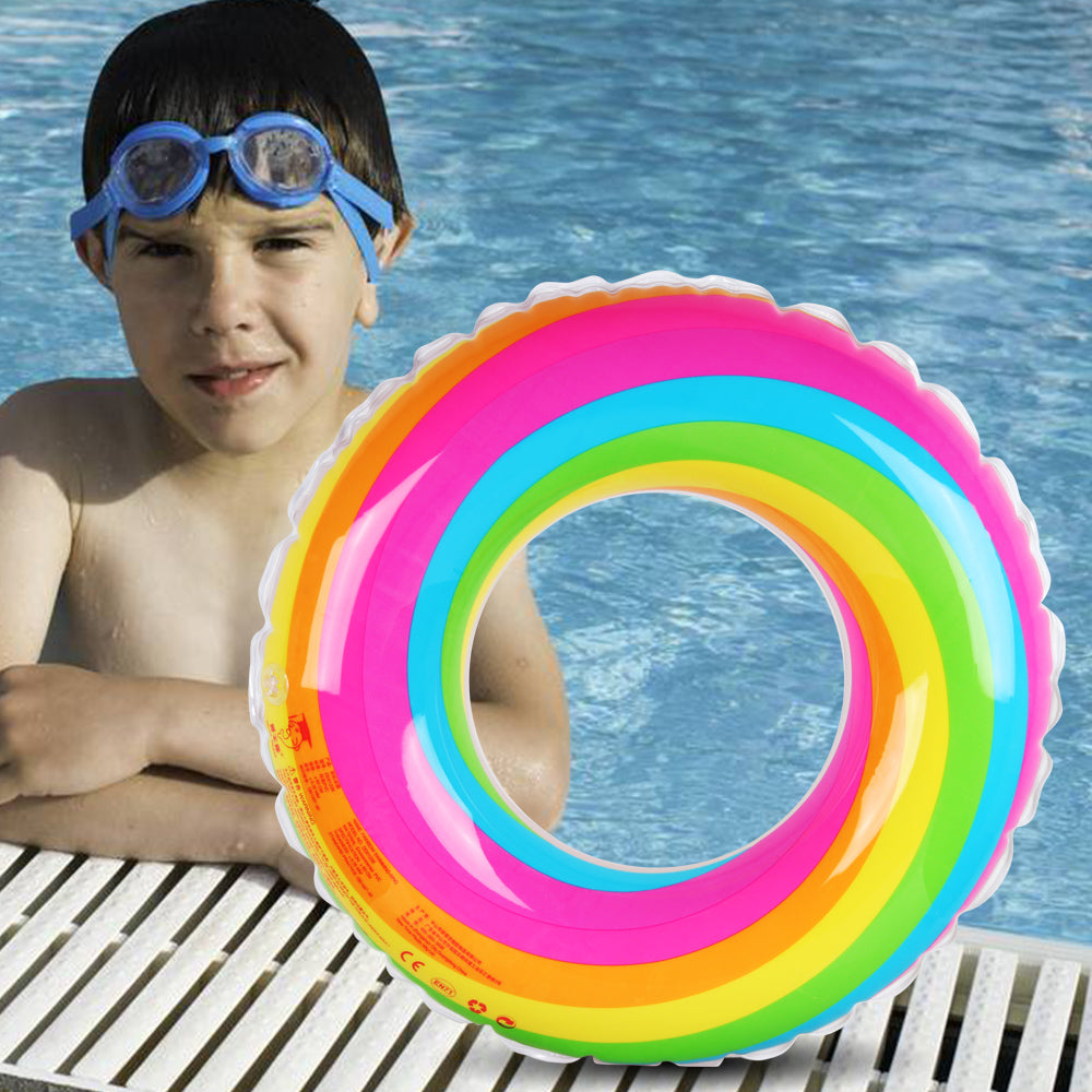 D-FantiX Inflatable Swim Ring Pool Float for Kids Adult Rainbow Swim Tube  Float Summer Beach Outdoor Swimming Pool Toys (60cm)