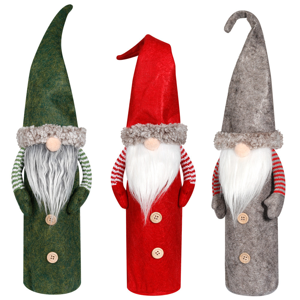 D-FantiX Christmas Gnomes Wine Bottle Cover, Swedish Tomte Wine Bottle Toppers