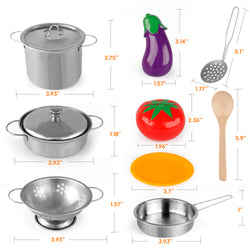 D-FantiX Pretend Play Toy Kitchen Accessories Kids Stainless Steel Cooking Pots and Pans Set