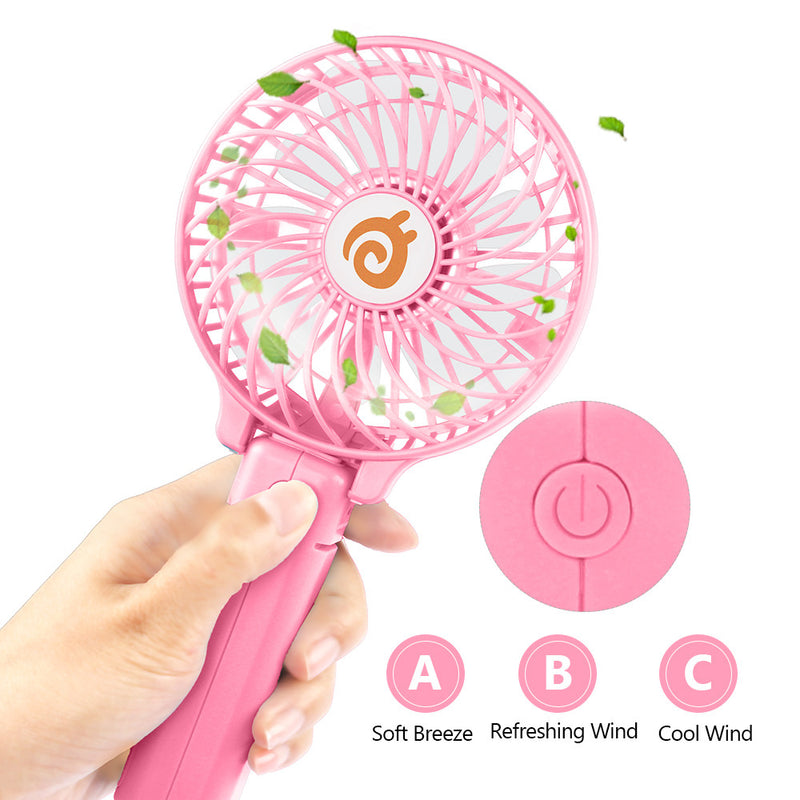 D-FantiX Mini Portable Rechargeable Foldable USB Personal Handheld Fan (Pink)