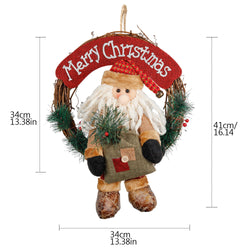 D-FantiX Santa Claus Christmas Wreath, 14 Inch Merry Christmas