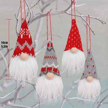D-FantiX Gnome Christmas Ornaments Set of 4, Swedish Tomte Gnomes Plush