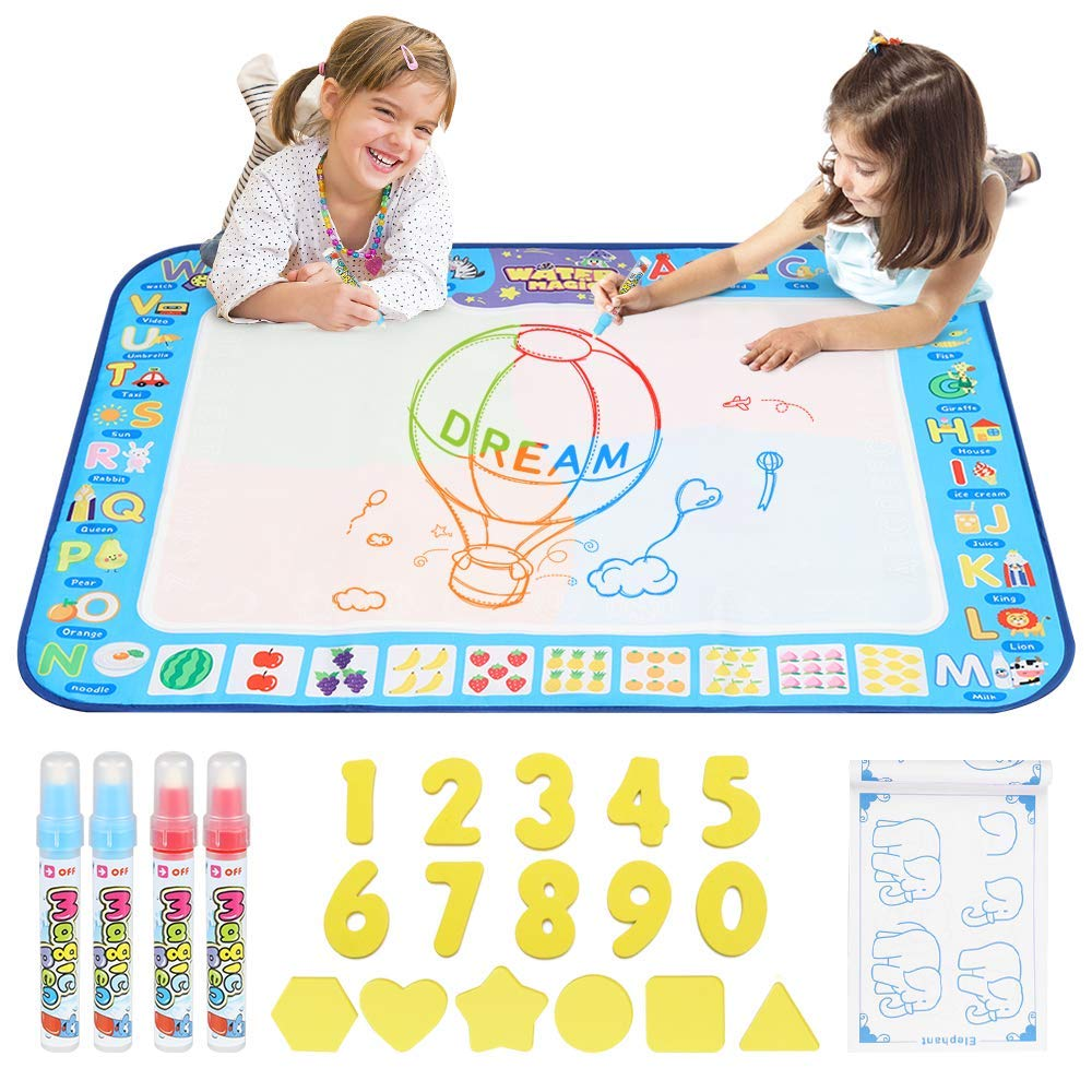 D-FantiX Water Doodle Mat, Large Kids Drawing Painting Writing Pad with 4 Magic Pen 38.5
