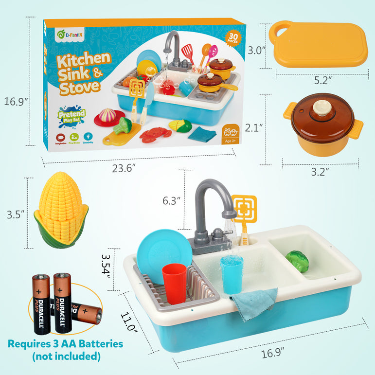 D-FantiX Play Kitchen Sink Pretend Toy Sink with Running Water Dishwasher with Cooking Stove