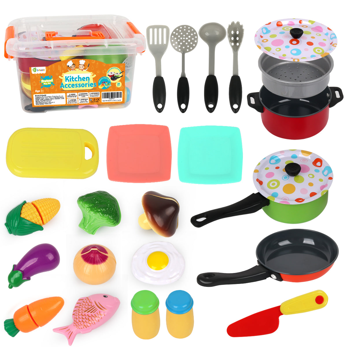 D-FantiX 24Pcs Kitchen Pretend Play Pots and Pans Set Cooking Cutting Food Playset