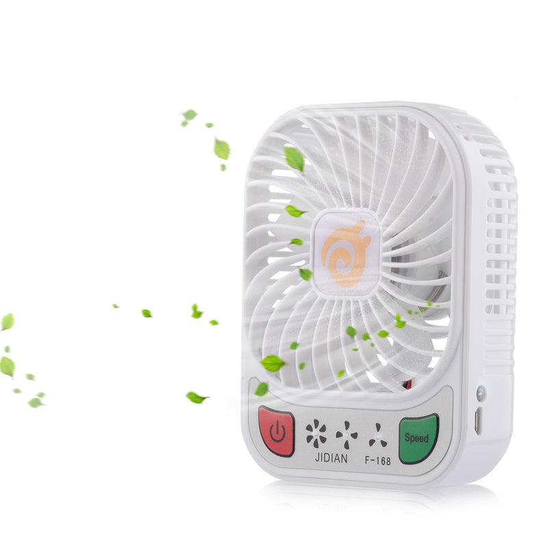D-FantiX 4-inch 3 Speeds Mini USB Rechargeable Desktop Fan with LED Light (White)