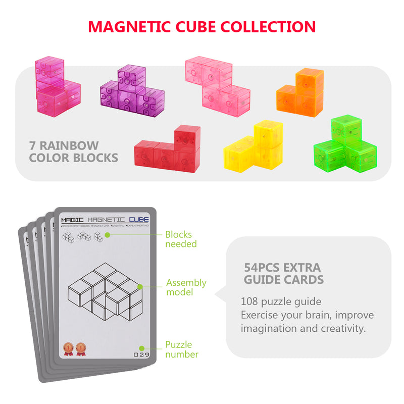 D-FantiX Magnetic Building Blocks, Magnet Toys 3D Brain Teaser Tetris Puzzle Cube Square Magnet Building Blocks for Kids with 54pcs Cards