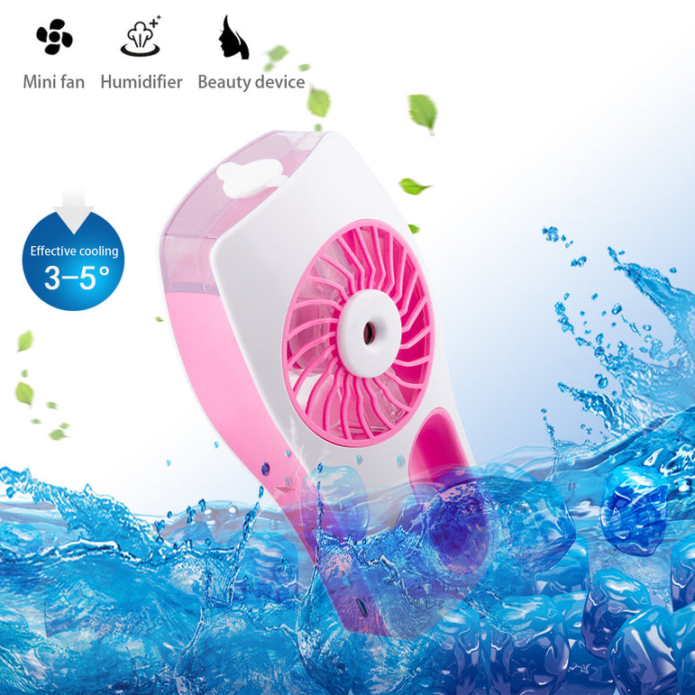 D-FantiX Handheld Fan Battery Operated Portable Personal Misting Fan (Pink)