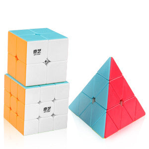 Qiyi 2x2 Warrior W 3x3 Qiming Pyraminx  Stickerless Speed Cube Bundle