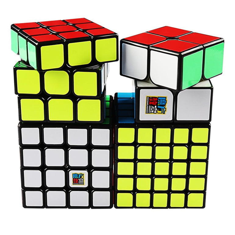 D-FantiX Moyu Cube Bundle 2x2 3x3 4x4 5x5 Speed Cube Black