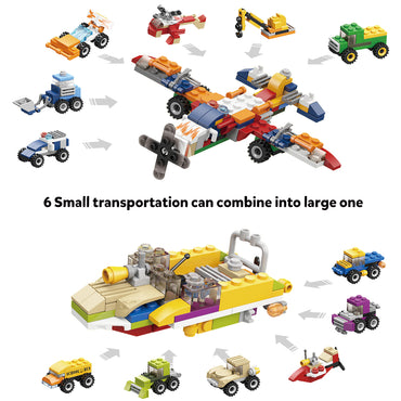 D-FantiX Car Building Blocks Set, 12PCS Mini 3D Assembly Vehicle Building Bricks Set