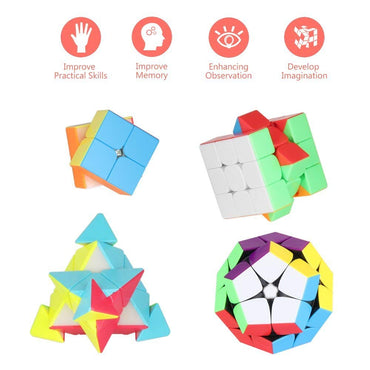 D-FantiX Stickerless Speed Cube Bundle of 2x2, 3x3, Pyramid, 2x2 Megaminx