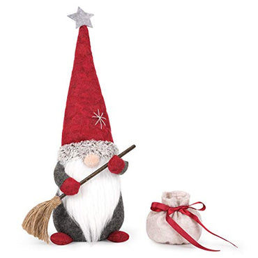 D-FantiX Sweeping Christmas Gnome with Broom and Bag