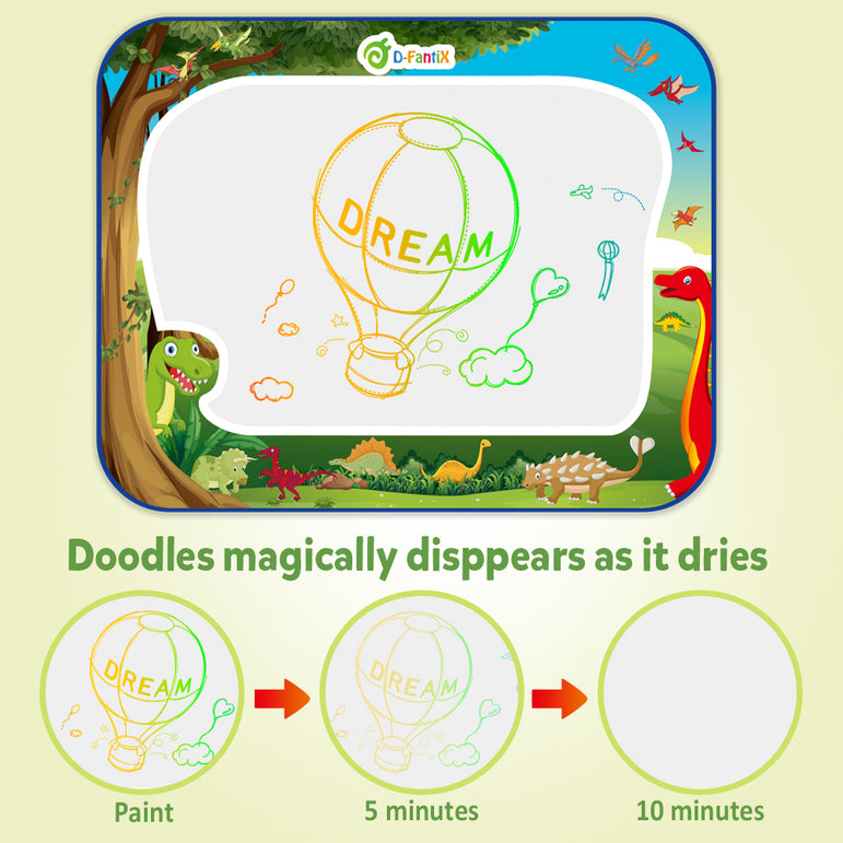 D-FantiX Water Doodle Mat Dinosaur Doodles Pad with 4 Magic Pen Educational Toy