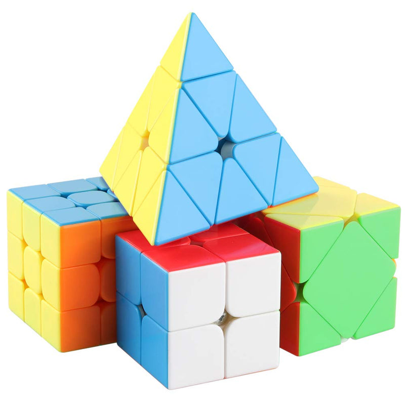 D-FantiX Speed Cube Set 2x2 3x3 Mofang Jiaoshi MF2S MF3RS2 Skewb Pyramid Stickerless Bundle Pack Collection