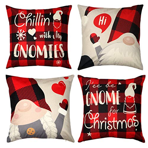 D-FantiX 18x18 Inch Christmas Gnome Throw Pillow Covers Set of 4