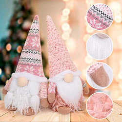 D-FantiX 2 Pack Pink Christmas Gnomes with Short Legs