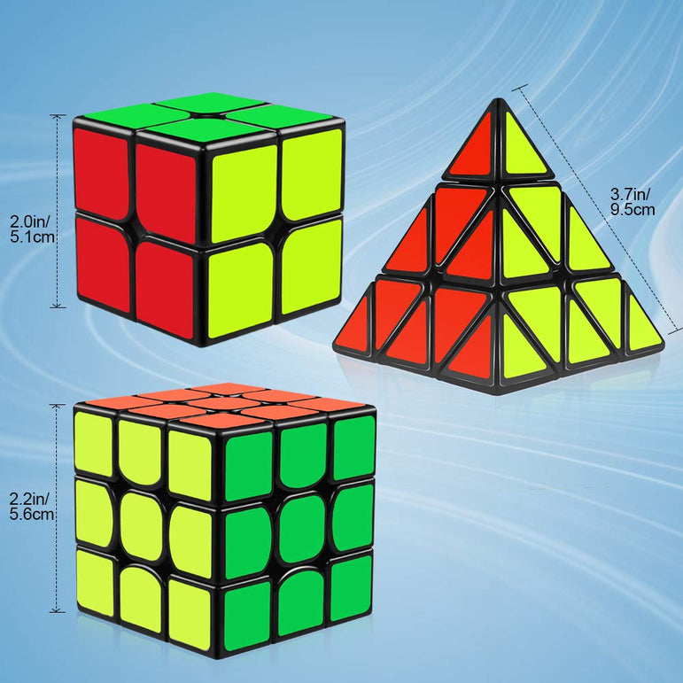 D-FantiX Speed Cube Set, Qiyi Qidi 2x2 Qihang 3x3 Qiming Pyramid Cubes Bundle