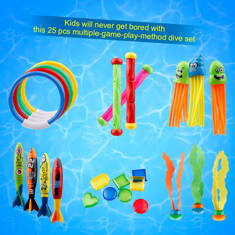 D-FantiX Pool Diving Toys 25Pcs- Dive Sticks and Rings Jewel Gem Set
