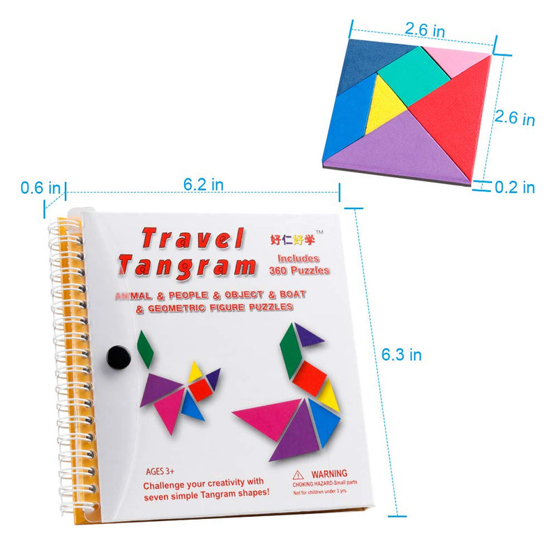 Travel Tangram Puzzle - Magnetic Pattern Block Book Road Trip Game Jigsaw Shapes Dissection STEM Games with Solution for Kid Adult Challenge - IQ Educational Toy Gift Brain Teasers 360 Patterns