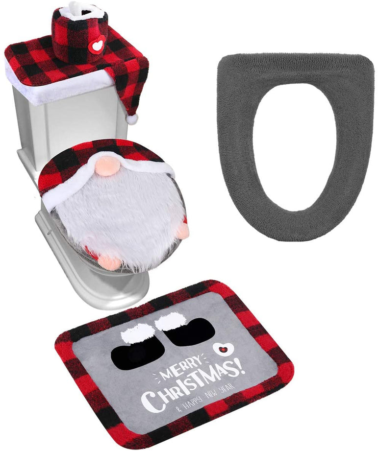 D-FantiX Gnome Toilet Seat Cover and Rug Set of 5