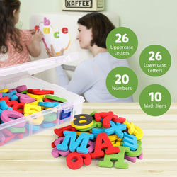 D-FantiX Magnetic Letters and Numbers 82 Pcs Foam Alphabet ABC 123 Math Symbols Magnets