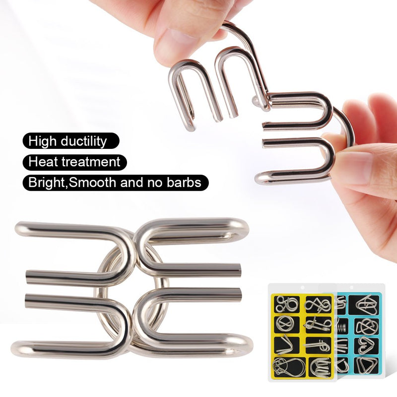 Metal Wire Puzzle Set of 16 with Pouch,Brain Teaser IQ Test Disentanglemen Iron Link Unlock Interlock Game Chinese Ring Magic Trick Toy