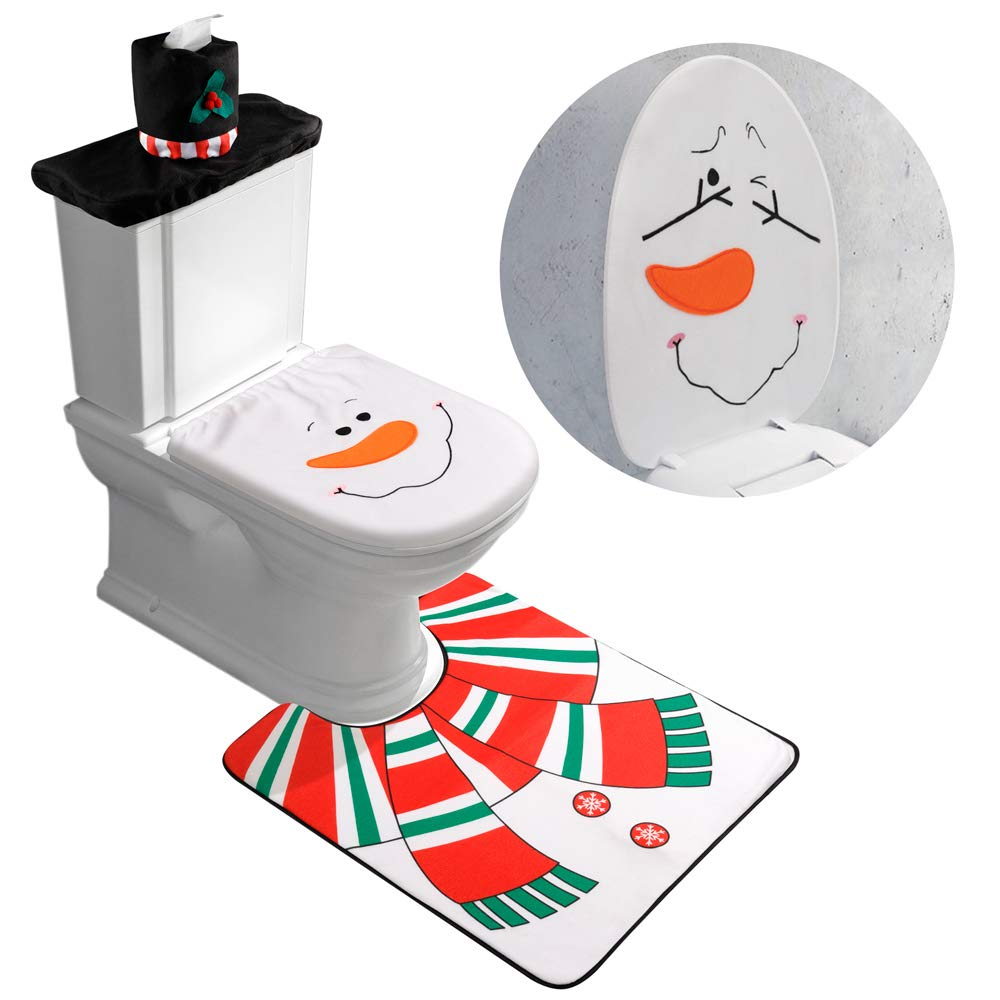 Miraculous D Fantix 4 Piece Snowman Santa Toilet Seat Cover And Rug Set Red Christmas Decorations Bathroom Squirreltailoven Fun Painted Chair Ideas Images Squirreltailovenorg