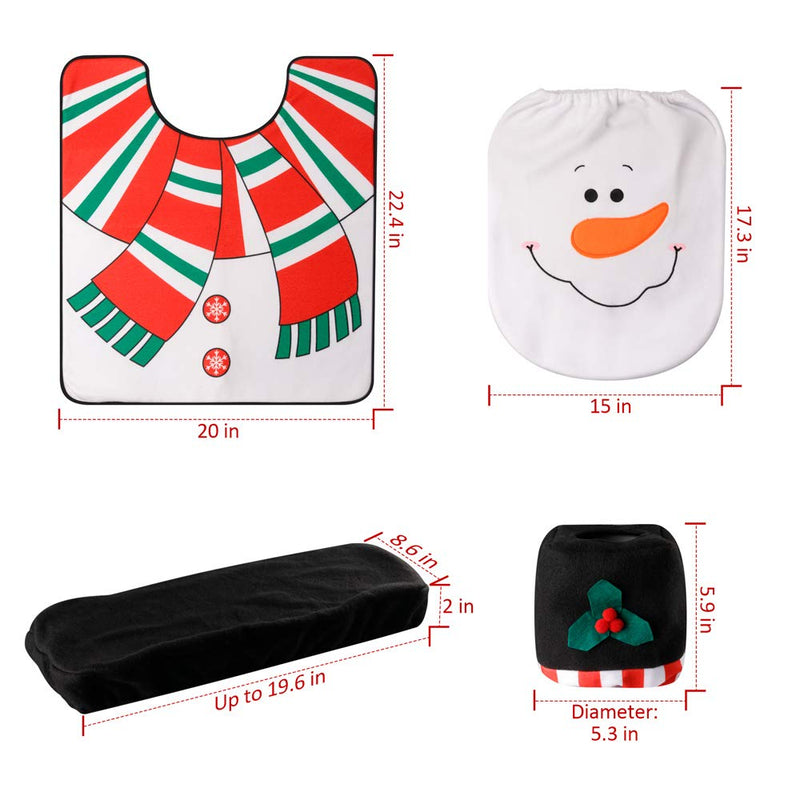 D-FantiX 4-Piece Snowman Santa Toilet Seat Cover and Rug Set Red Christmas Decorations Bathroom