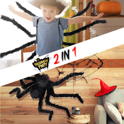 D-FantiX Halloween 59 Inch Large Fake Spider Decorations