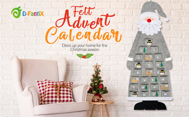 D-FantiX Christmas Advent Calendar Santa Felt Advent Calendar with Pockets