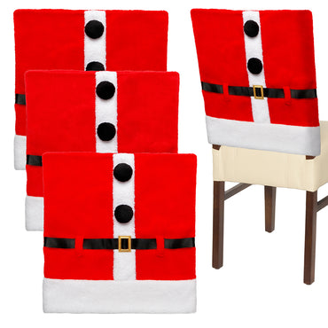 D-FantiX 4 PCS Santa Claus Suit Christmas Chair Covers