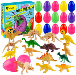 D-FantiX 16Pcs Toys Filled Easter Eggs Plastic, 2.2 Inches Prefilled Easter Eggs Bulk
