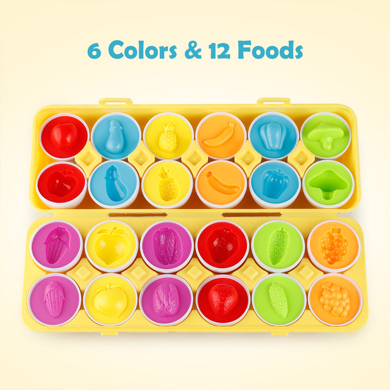 D-FantiX Color Matching Egg Set of 12, Vegetables Fruits Matching Easter Eggs For Kids Toddlers