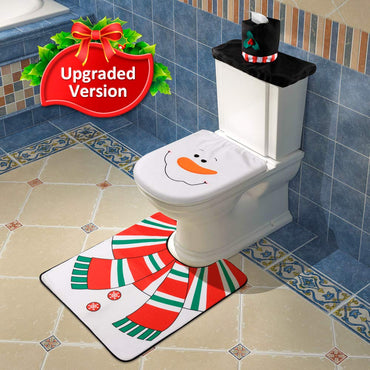 D-FantiX 4-Piece Snowman Santa Bathroom Toilet Seat Cover and Rug Set Christmas Decorations