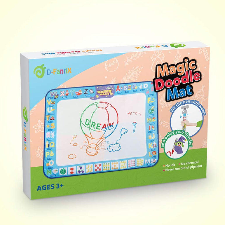 "D-FantiX Water Doodle Mat, Large Kids Drawing Painting Writing Pad with 4 Magic Pen 38.5 "" x 30 """