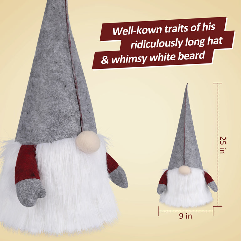 D-FantiX Gnome Christmas Tree Topper, 25 Inch Large Swedish Tomte Gnome