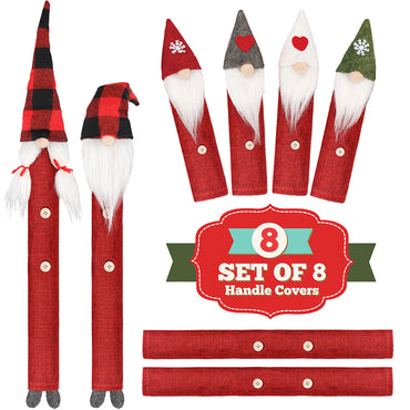 D-FantiX Gnome Christmas Refrigerator Handle Covers Set of 8