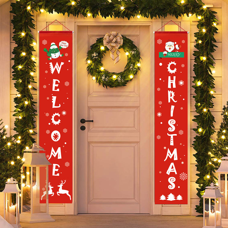 D-FantiX Front Door Welcome Christmas Porch Sign Banners